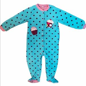 ✨3 for $30✨24M Girl Polka Dot Fleece Snap Sleeper